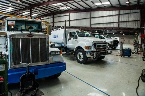Lineup of Niece water trucks