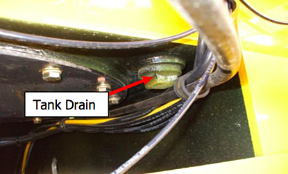 Tank drain on a Niece water truck